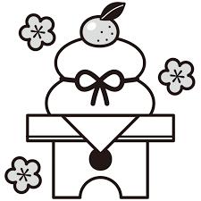 鏡餅白黒イラスト 無料イラスト素材素材ラボ