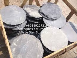 black slate round stepping stones garden paving stones back yard stone pavers slate patio stone