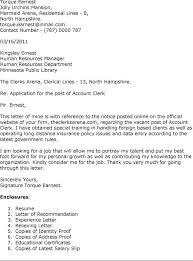 Cover Letter Accounting Clerk Letter Of Recommendation