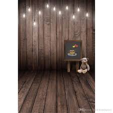2019 vintage wood photography backdrop vinyl printed blackboard bear toy hanging bulbs baby kids children photo background wood floor from backdropsfactory