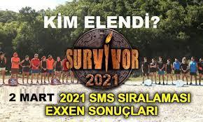 Survivor 2021 sms sıralaması exxen sonuçları video izle! 2 Mart Survivor Oy  listesi exxen.com Ünlüler Gönüllüler 8. hafta sms birincisi kim oldu? -  Kayseri Tempo
