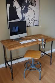 modern steel pipe and oak desk