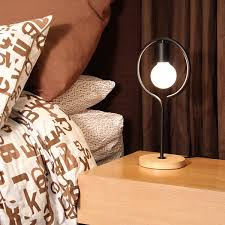 exposed bulb bedside lamp