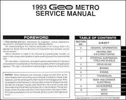 1993 geo metro repair manual original table of contents