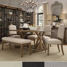 benchwright rustic pine trestle concrete inlaid wood 6 piece dining set by inspire q artisan