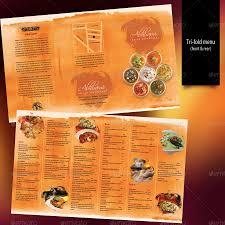 Indian Restaurant Menu Set A4 Trifold Raja Menu Restaurant