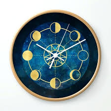 blue wall clocks gold moon phases sun stars night sky navy blue wall clock duck egg blue wall clocks