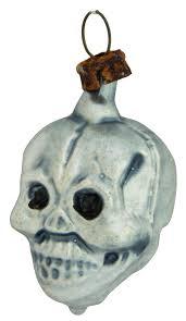 Schöner Miniatur Schädel Totenkopf Aus Glas 45cm Weihnachtsbaumschmuck In Nostalgischer Form