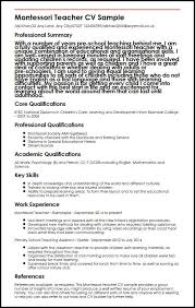 teacher job resumes montessori teacher cv sample myperfectcv