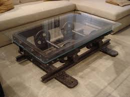 Creative Idea:Living Room With L Shaped Cream Sectional Sofa Feat Steampunk  Coffee Table With