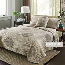 Amazon.com: Brandream King Size Taupe Bed Quilt Set Luxury ... & Brandream King Size Taupe Bed Quilt Set Luxury Bedspread Shabby Adamdwight.com