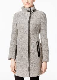 calvin klein faux leather trim boucle walker coat