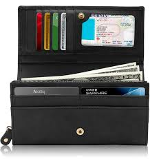 access denied genuine leather wallets for women embossed fl las accordion clutch rfid wallet with id window com