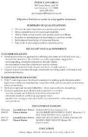 Waiter waitress resume