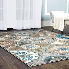 tremendeous blue and brown rug in orian rugs geometric linked mocha area 53 x 76