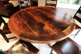 table 56 round pedestal 30 height reclaimed hand hewn barn