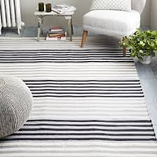 shining striped cotton dhurrie rugs colorstep stripe rug black stone white west elm
