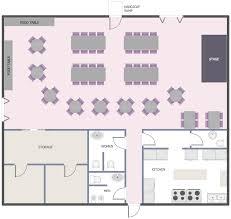 Cafe And Restaurant Floor Plan Solution  ConceptDrawcom Cafeteria Floor Plan