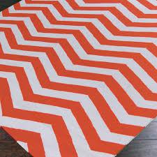 orange and white chevron rug