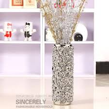 Modern ceramic beihanmei ceramic home decorations decoration vase landing  trumpet silver plated rose vase