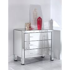 Built using a combination of glass and wood comes this exceptional Romano Mirrored  Chest 3 Drawer