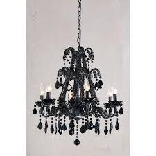 black chandelier black crystal 6 arm