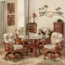 leikela rattan tro dining furniture set gl table and wicker chairs round with caster five height