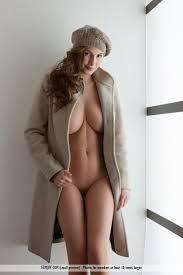 Girl naked under long coat