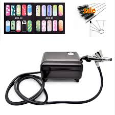 value airbrush set kit pen body paint makeup spray gun for nail paint with 5 cleaning brush 1 air pressor 1 horse 2 stencil