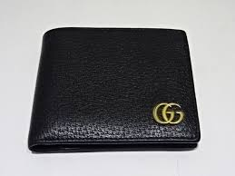 two gucci gucci mens gg marmont 428725 fold wallet leather wallet black brand old clothes daimyo