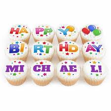 Twelve Personalised Happy Birthday Name Cupcakes