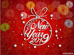 2019 Happy New Year greeting card with colorful fireworks. Vector ...