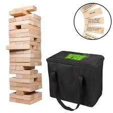 com scs direct extra giant stacking tower drinking game stacks up to 5ft 60pcs wooden blocks with drinking commands 21 only toys