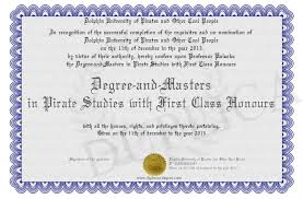 First Class Honours Degree And Masters In Pirate Studies With First Class Honours