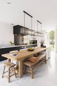 Grande Table En Bois Lustres Cuisine Kitchen Interior Narrow