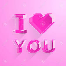 Valentine Day Cards.i Love You.letter In Isometric View.vector ...