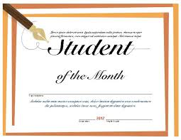 Student Of The Month Certificates Student Of The Month Microsoft Word Certificate Template