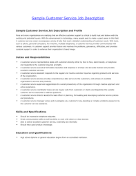 Description Of Customer Service Duties For Resume With Job Social