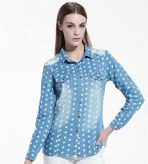Dotted Tops Designs Buy Fashion Casual Women Denim Blouses Polka Dot Long Sleeve
