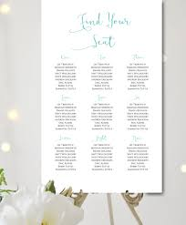 Custom Aqua Simple Wedding Seating Chart