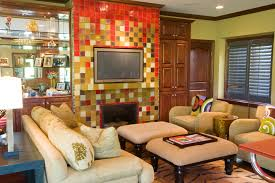 Modern Mexican Living Room Design With Colorful Tiled Fireplace (Image 10  of 12)