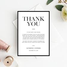Wedding Thank You Notes Templates Minimalist Wedding Thank You Card Templates Printable Wedding Thank You Card Modern Simple Black Border Wedding Thank You Card Templates