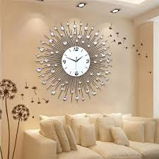 Our wood wall decor ideas save you both time and money over traditional art pieces, and are incredibly easy to customize. New Luxury Scenic Iron Art Metal Living Room Round Diamond Wall Clock Home Decor Living Room Clocks Wall Clocks Living Room Large Wall Clock Modern