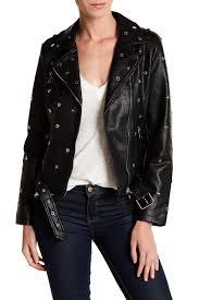 a v denimfaux leather studded moto jacket
