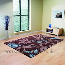 infinate damask brown blue rug 60 x 110cm
