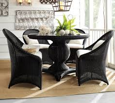 palmetto all weather wicker round pedestal dining table chair set black