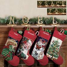 Seasonal Christmas Golden Stocking Holder Sets