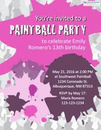 free 13th birthday invitations free printable paintball party invitations lovetoknow