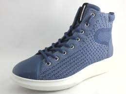 Ecco Danish Design Womens Details About Ecco Danish Design Blue High Top Shoes Knit Leather Womens Us 8 8 5 Eu 39 130
