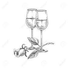 beautiful vector hand drawn restaurant stuff ilration detailed retro style two glasses of white wine